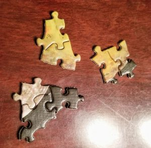 Puzzle pieces that came out of the box already put together