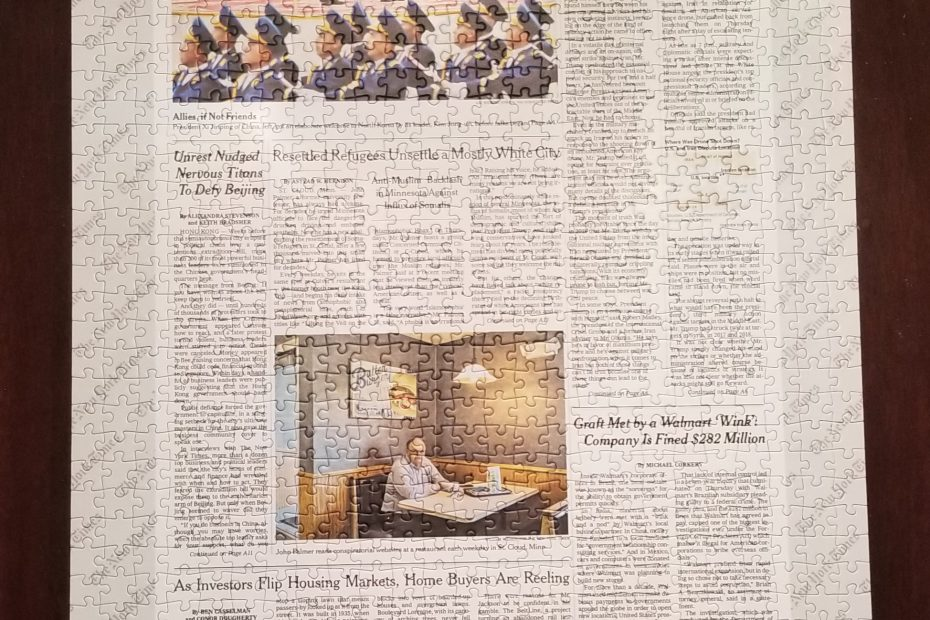 Front Page Puzzle of the New York Times from 2019